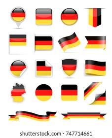 Germany Flag Set - Vector Illustration