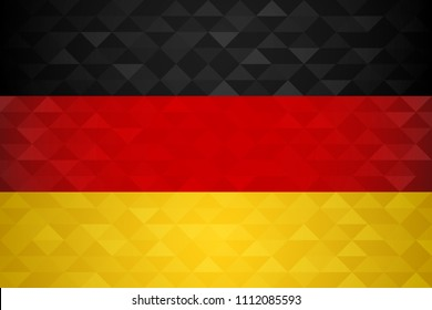Germany flag for special country event with geometric triangle background. International german nation template. EPS10 vector.