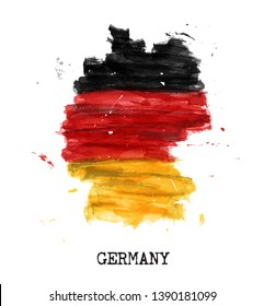 Germany flag watercolor painting design . Country map shape . Sports team and german unity day concept ( 3 October ) . Vector .