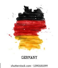 Deutschland kennzeichnet Aquarellmalerei Design . Landkarte-Form. Sportmannschaft und deutsches Ganztagskonzept ( 3. Oktober ). Vektorgrafik.