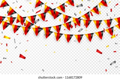 Germany flags garland white background with confetti, Hang bunting for German national Day celebration template banner, Vector illustration.