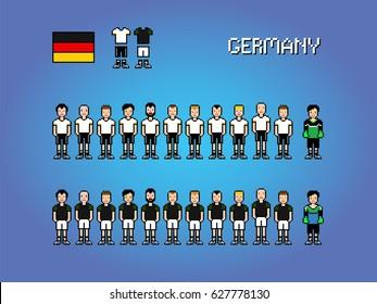 Germany football soccer player uniform pixel art game illustration