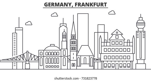 Germany, Frankfurt architecture line skyline illustration. Linear vector cityscape with famous landmarks, city sights, design icons. Landscape wtih editable strokes