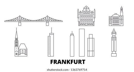 Germany, Frankfurt line travel skyline set. Germany, Frankfurt outline city vector illustration, symbol, travel sights, landmarks.