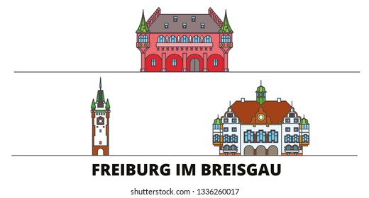Germany, Freiburg Im Breisgau flat landmarks vector illustration. Germany, Freiburg Im Breisgau line city with famous travel sights, skyline, design.