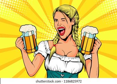 Germany Girl waitress carries beer glasses. Oktoberfest celebration. Vector illustration in pop art retro comic style