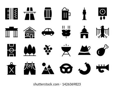 Germany glyph icon symbol set