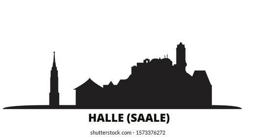 Germany, Halle (Saale) city skyline isolated vector illustration. Germany, Halle (Saale) travel black cityscape