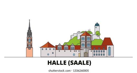 Germany, Halle (Saale) flat landmarks vector illustration. Germany, Halle (Saale) line city with famous travel sights, skyline, design.