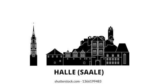 Germany, Halle (Saale) flat travel skyline set. Germany, Halle (Saale) black city vector illustration, symbol, travel sights, landmarks.