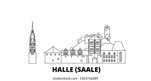 Germany, Halle (Saale) line travel skyline set. Germany, Halle (Saale) outline city vector illustration, symbol, travel sights, landmarks.