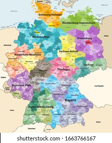 Germany high detailed vector map with neighbouring countries and territories. Map colored by states and administrative districts, with subdivisions