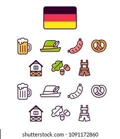 Germany icons set. Traditional German signs and symbols. 2 styles, colored cartoon line icons and black outlines.