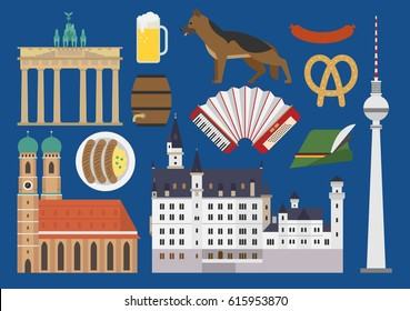 Germany illustration, vector, landmark, culture, German