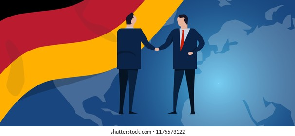 Germany international partnership. Diplomacy negotiation. Business relationship agreement handshake. Country flag and map. Corporate Global business investment.