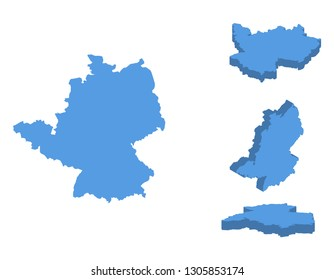 Germany isometric map vector illustration, country isolated on a white background.
