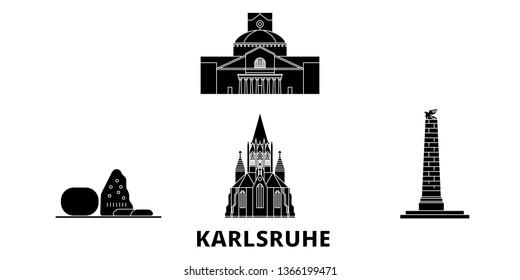 Germany, Karlsruhe flat travel skyline set. Germany, Karlsruhe black city vector illustration, symbol, travel sights, landmarks.