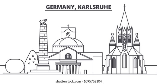 Germany, Karlsruhe line skyline vector illustration. Germany, Karlsruhe linear cityscape with famous landmarks, city sights, vector landscape.
