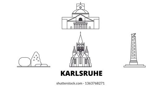Germany, Karlsruhe line travel skyline set. Germany, Karlsruhe outline city vector illustration, symbol, travel sights, landmarks.