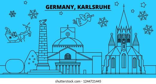 Germany, Karlsruhe winter holidays skyline. Merry Christmas, Happy New Year decorated banner with Santa Claus.Germany, Karlsruhe linear christmas city vector flat illustration