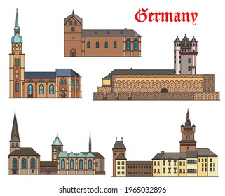 Germany landmark buildings architecture, castles and cathedral houses, German cities, vector. St Reinold and Peter church in Dortmund, Schwanenburg Castle in Kleve, Eltville and Munster Cathedral