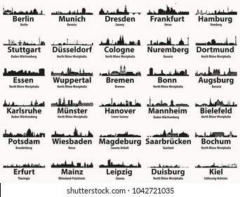 Germany state capitals and largest cities skylines silhouettes