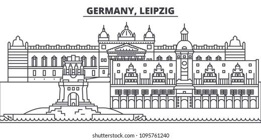 Germany, Leipzig line skyline vector illustration. Germany, Leipzig linear cityscape with famous landmarks, city sights, vector landscape.