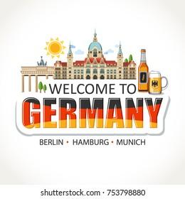 Germany lettering sights symbols landmarks culture illustration
