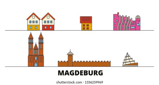 Germany, Magdeburg flat landmarks vector illustration. Germany, Magdeburg line city with famous travel sights, skyline, design.