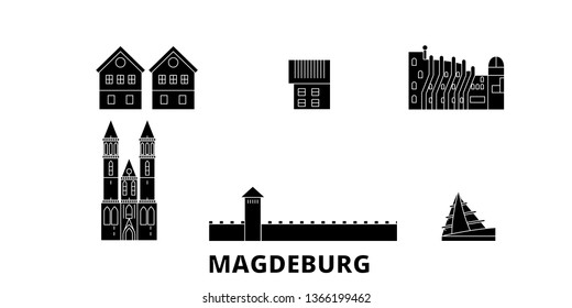 Germany, Magdeburg flat travel skyline set. Germany, Magdeburg black city vector illustration, symbol, travel sights, landmarks.
