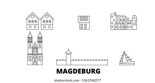 Germany, Magdeburg line travel skyline set. Germany, Magdeburg outline city vector illustration, symbol, travel sights, landmarks.