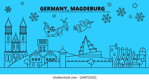 Germany, Magdeburg winter holidays skyline. Merry Christmas, Happy New Year decorated banner with Santa Claus.Germany, Magdeburg linear christmas city vector flat illustration