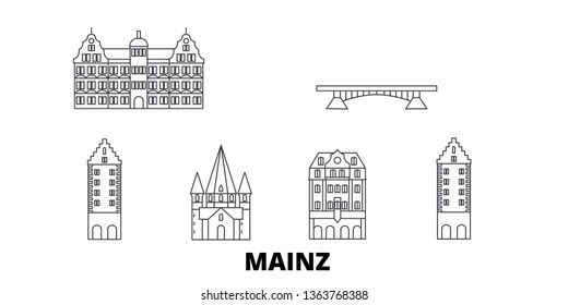 Germany, Mainz line travel skyline set. Germany, Mainz outline city vector illustration, symbol, travel sights, landmarks.