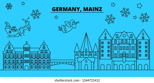 Germany, Mainz winter holidays skyline. Merry Christmas, Happy New Year decorated banner with Santa Claus.Germany, Mainz linear christmas city vector flat illustration