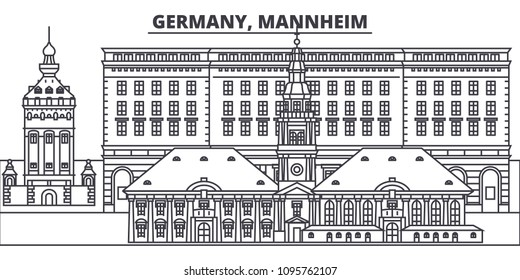 Germany, Mannheim line skyline vector illustration. Germany, Mannheim linear cityscape with famous landmarks, city sights, vector landscape.