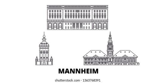 Germany, Mannheim line travel skyline set. Germany, Mannheim outline city vector illustration, symbol, travel sights, landmarks.