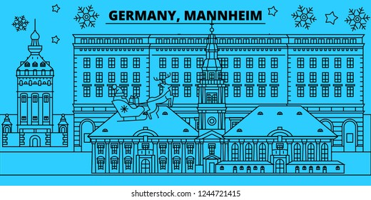 Germany, Mannheim winter holidays skyline. Merry Christmas, Happy New Year decorated banner with Santa Claus.Germany, Mannheim linear christmas city vector flat illustration