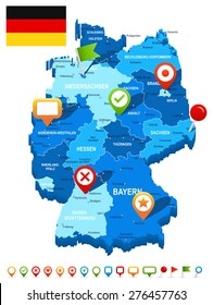 Germany map 3D, flag and navigation icons - illustration