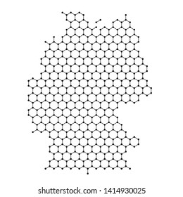Germany map from abstract futuristic hexagonal shapes, lines, points black, in the form of honeycomb or molecular structure. Vector illustration.