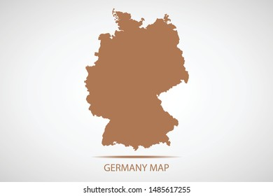 Germany map, brown color and country name. Map of Europe. Vector map on gray background. Symbol for your web site design map logo. app, ui, Travel vector eps10, concept Illustration.