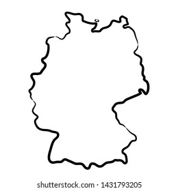 Germany map from the contour black brush lines different thickness on white background. Vector illustration.