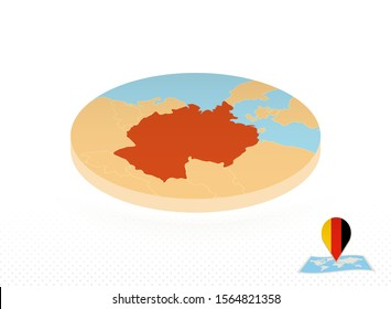 Germany map designed in isometric style, orange circle map of Germany for web, infographic and more.