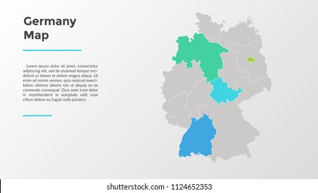 Germany map divided into provinces or regions with modern borders. Geographic location indication. Infographic design template. Vector illustration for presentation, brochure, touristic website.