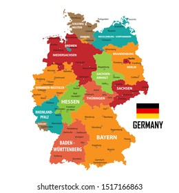 Germany map and flag of Germany. City names - land contours. Vector illustration.