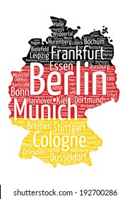 Germany map with flag word cloud tag concept in vector