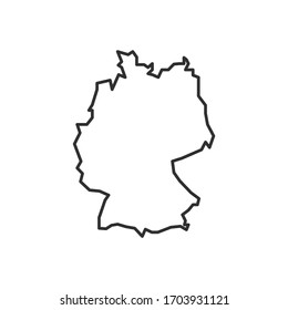Germany map icon isolated on white background. Germany outline map. Simple line icon. Vector illustration