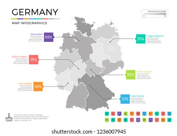 Germany map infographics with editable separated layers, zones, elements and district area in vector