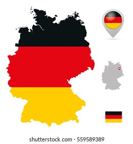 Germany map in national flag colors, flag,  marker and location of its capital Berlin.