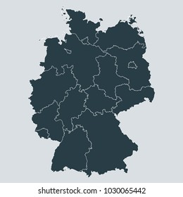 Germany map on gray background vector, Germany Map Outline Shape Gray on White Vector Illustration, High detailed Gray illustration map Germany.