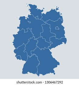 Germany map on gray background vector, Germany Map Outline Shape Blue on White Vector Illustration, High detailed Gray illustration map Germany.